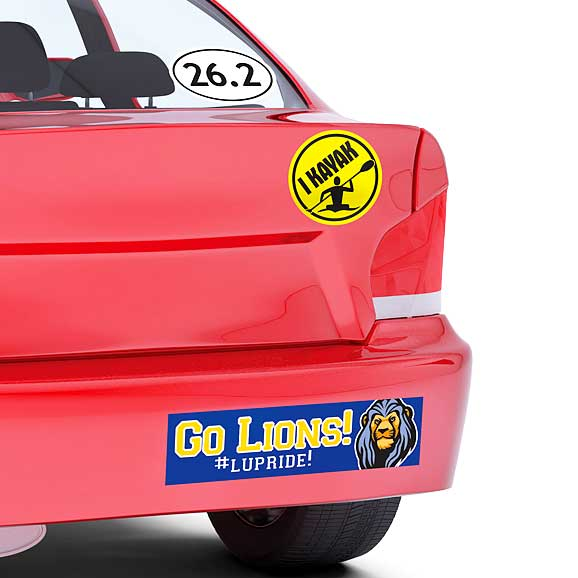 Rear of car with three different bumper stickers