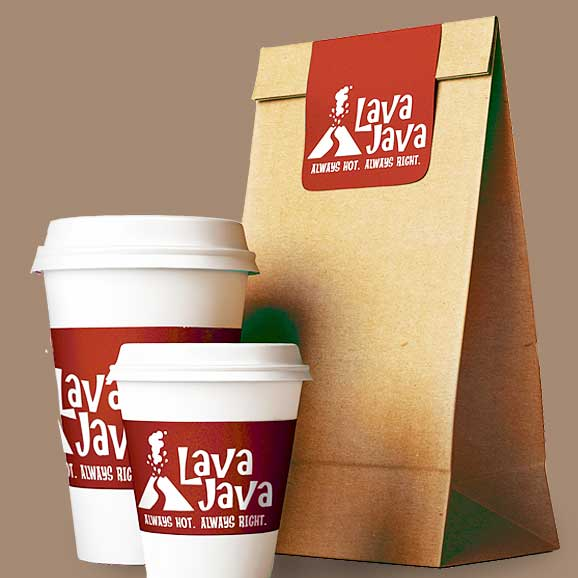 Two coffee cups and paper bag with take-out food labels