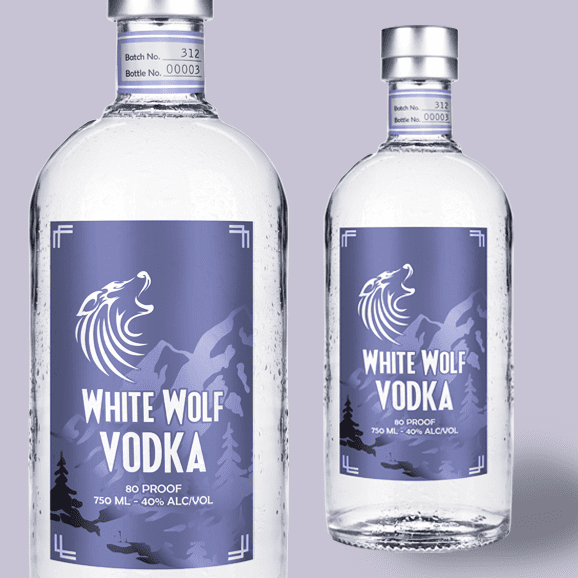 Two vodka bottles with faux foil labels
