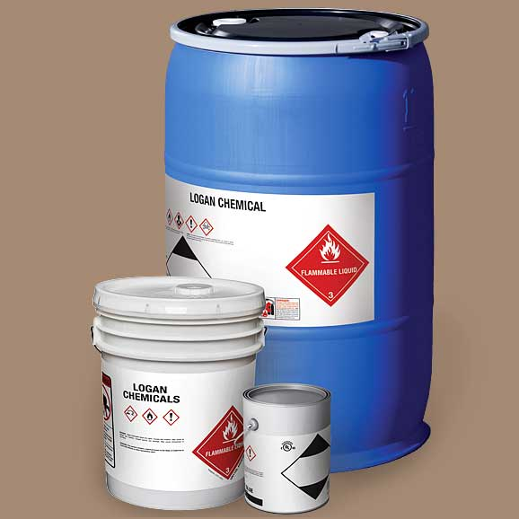 A blue drum, 5-gallon bucket and small pain with hazardous material labels
