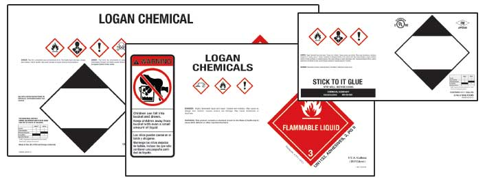 Grouping of three drum and bucket labels