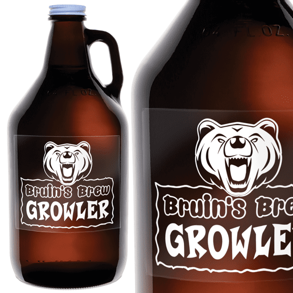 Two growler bottles with clear labels
