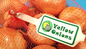 Photo of onions with produce tag
