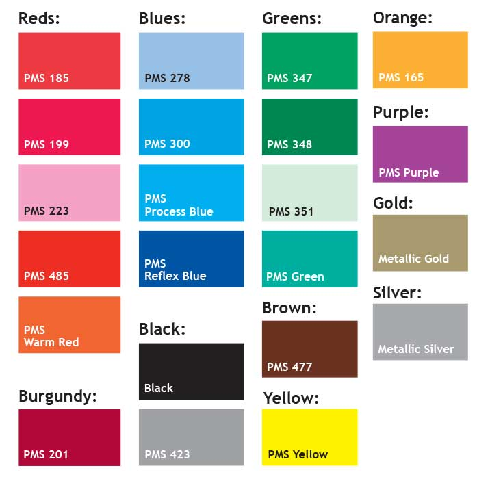 Chart of standard spot color swatches with PMS numbers