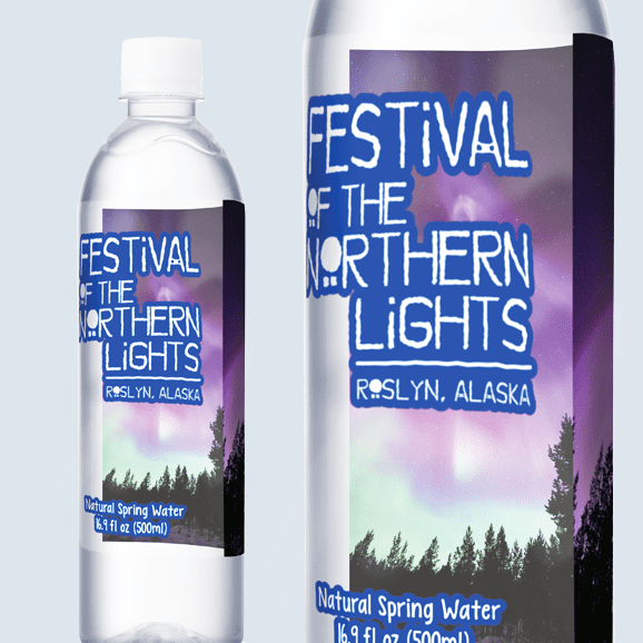 Photo of two 2-sided water bottles