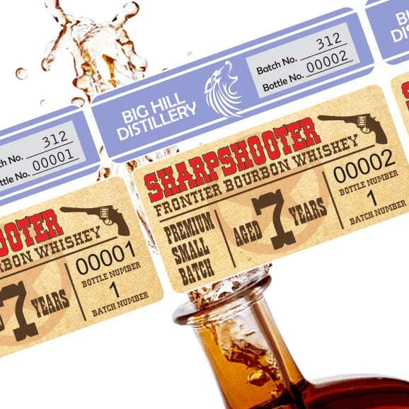 Batch label examples over a splashing bourbon bottle