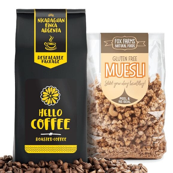 Photo of coffee bag and muesli bag with Peel and Reseal Labels