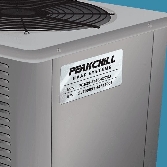 Silver Outdoor Label on Air COnditioner